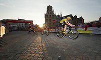 Chris Froome (GBR/SKY) racing over the cobbles of the Central Square in Mechelen<br /> <br /> Post-Tour Criterium Mechelen 2015
