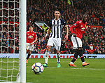 Romelu Lukaku of Manchester United looks on as his header is pushed onto the post during the premier league match at the Old Trafford Stadium, Manchester. Picture date 15th April 2018. Picture credit should read: Simon Bellis/Sportimage
