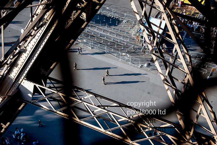 Pic shows: Heavy security in Paris, France after recent terror attacks<br /> <br /> Seen from the Eiffel Tower - where queues were much shorter than is usual for this time of year.<br /> <br /> <br /> Pic by Gavin Rodgers/Pixel 8000 Ltd