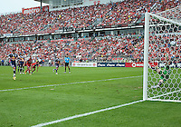 August 21 2010 New York Red Bulls forward Juan Pablo Angel # 9 scores on Toronto FC goalkeeper Stefan Frei #24 with a penalty kick during a game between the New York Red Bulls and Toronto FC at BMO Field in Toronto..The New York Red Bulls won 4-1.