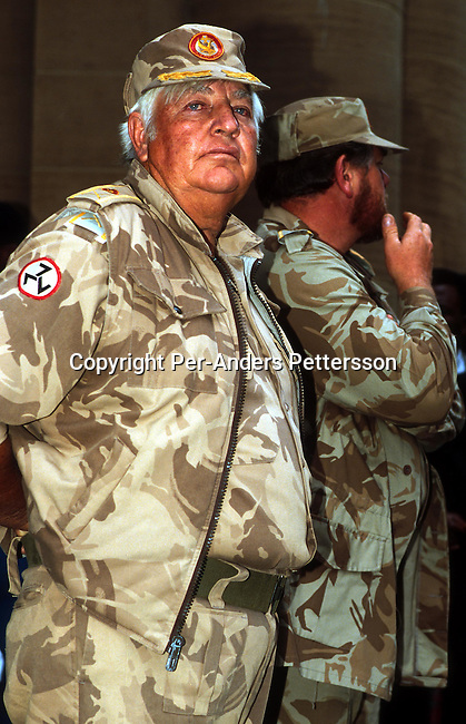 An unidentified member of AWB, the right wing organisation on April 15, 1994 outside the High Court in Central Johannesburg, South Africa. These white Afrikaner extremists was scared for the future of South Africa and took up arms to defend their land. They requested a home land only for Afrikaner people, which was rejected by the ANC led democratic election winners in 1994..Photo: Per-Anders Pettersson/ iAfrika Photos