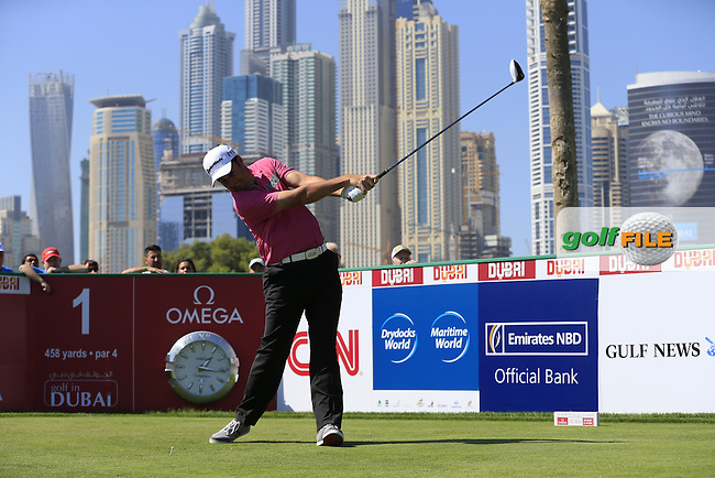 Richard BLAND (ENG) tees off the 1st tee to start his game during Pink Friday's Round 2 of the 2015 Omega Dubai Desert Classic held at the Emirates Golf Club, Dubai, UAE.: Picture Eoin Clarke, www.golffile.ie: 1/30/2015