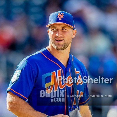 7 March 2019: New York Mets designated hitter Tim Tebow leaves the field in the late innings of a Spring Training Game against the Washington Nationals at the Ballpark of the Palm Beaches in West Palm Beach, Florida. The Nationals defeated the visiting Mets 6-4 in Grapefruit League, pre-season play. Mandatory Credit: Ed Wolfstein Photo *** RAW (NEF) Image File Available ***