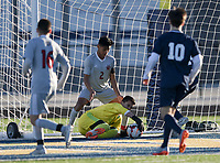 NWA Democrat-Gazette/CHARLIE KAIJO Springdale High School goalkeeper Abram Cordero (10) during a soccer game, Friday, March 15, 2019 at Bentonville West in Centerton.