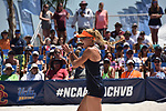 GULF SHORES, AL - MAY 07: Madalyn Roh (10) of Pepperdine University celebrates a kill against the University of Southern California during the Division I Women's Beach Volleyball Championship held at Gulf Place on May 7, 2017 in Gulf Shores, Alabama. (Photo by Stephen Nowland/NCAA Photos via Getty Images)