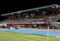 GEORGETOWN, GRAND CAYMAN, CAYMAN ISLANDS - NOVEMBER 19: USA fans the American Outlaws during a game between Cuba and USMNT at Truman Bodden Sports Complex on November 19, 2019 in Georgetown, Grand Cayman.