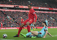 Liverpool's Joel Matip is tackled by Burnley's George Boyd<br /> <br /> Photographer Rich Linley/CameraSport<br /> <br /> The Premier League - Liverpool v Burnley - Sunday 12 March 2017 - Anfield - Liverpool<br /> <br /> World Copyright &copy; 2017 CameraSport. All rights reserved. 43 Linden Ave. Countesthorpe. Leicester. England. LE8 5PG - Tel: +44 (0) 116 277 4147 - admin@camerasport.com - www.camerasport.com