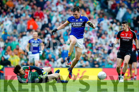 Jack Barry Kerry has his shot on goal blocked by David Clarke Mayo in the All Ireland Semi Final in Croke Park on Sunday.