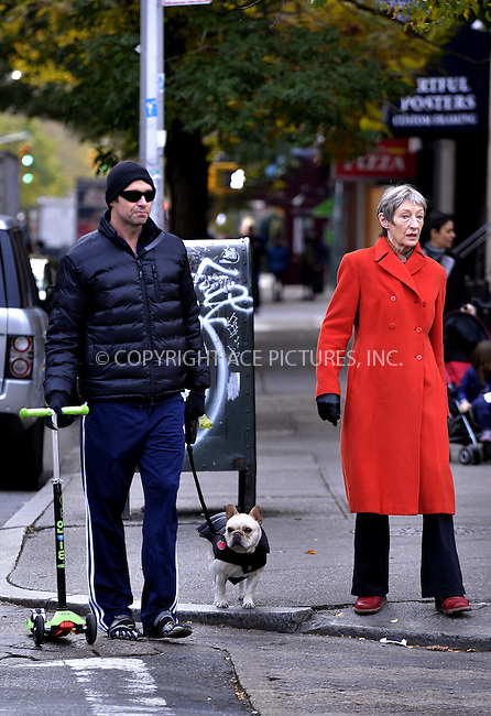 WWW.ACEPIXS.COM<br /> <br /> November 15 20913, New York City<br /> <br /> Actor Hugh Jackman walks in the West Village with his mother Grace McNeil on November 15 2013 in Ndew York City<br /> <br /> By Line: Curtis Means/ACE Pictures<br /> <br /> <br /> ACE Pictures, Inc.<br /> tel: 646 769 0430<br /> Email: info@acepixs.com<br /> www.acepixs.com