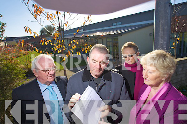 The group Senior citizens campaign for a community hospital for Tralee are petitioning against the HSE decision to use nearly half the beds at the new community hospital for rehabilitation rather than for the long-term care of the elderly as was planned. .L-R Tim Guiheen, John Rowan, Joan O'Mally and Mairead Fearnane.