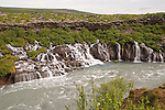 View of Hraunfossar Waterfalls near Husafell in Iceland