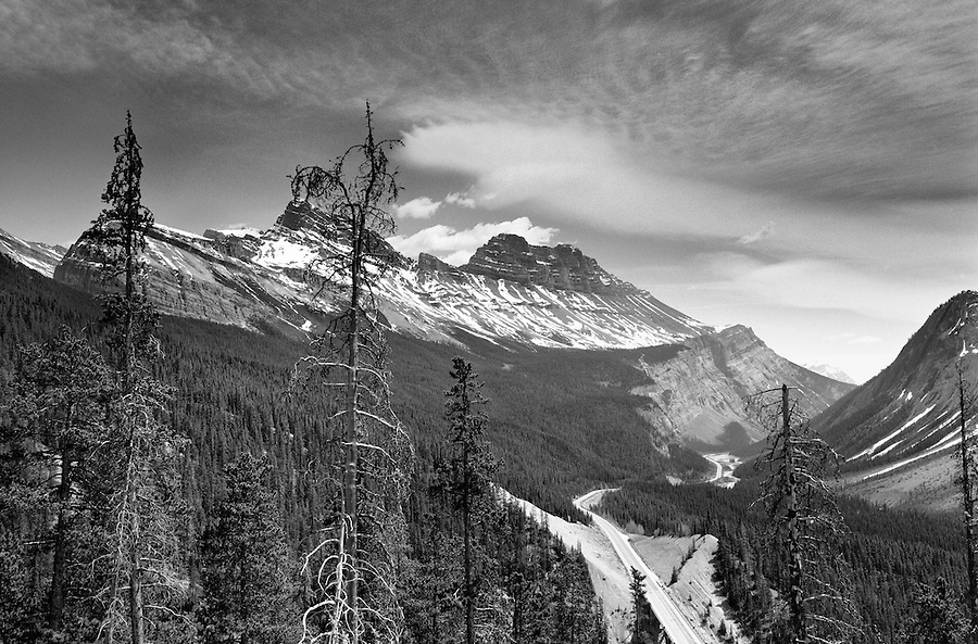 The Icefields Parkway runs through the Canadian Rockies from Banff to Jasper as seen from this turnout.