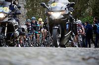 Sir Bradley Wiggins (GBR/Sky) having fun leading the peloton over the Kruisberg cobbles. Sep Vanmarcke (BEL/LottoNL-Jumbo) is right behind him.<br /> <br /> Omloop Het Nieuwsblad 2015