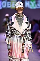7 September 2017, Melbourne - Model parades design by student Isobel Hyland during the Melbourne Fashion Week in Melbourne, Australia. (Photo Sydney Low / asteriskimages.com)