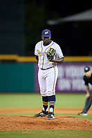 Montgomery Biscuits relief pitcher Diego Castillo (9) looks in for the sign during a game against the Mississippi Braves on April 26, 2017 at Montgomery Riverwalk Stadium in Montgomery, Alabama.  Montgomery defeated Mississippi 5-2.  (Mike Janes/Four Seam Images)