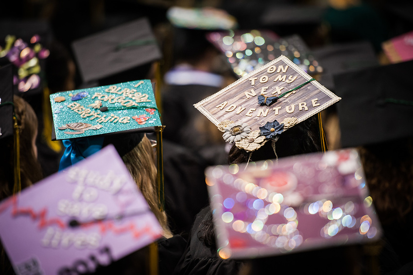 Mortarboards during the UAA 2017 Fall Commencement.