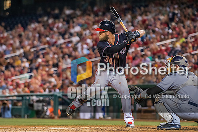 22 July 2016: Washington Nationals outfielder Bryce Harper in action against the San Diego Padres at Nationals Park in Washington, DC. The Padres defeated the Nationals 5-3 to take the first game of their 3-game, weekend series. Mandatory Credit: Ed Wolfstein Photo *** RAW (NEF) Image File Available ***