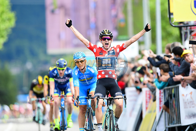 The breakaway group Koen Bouwman (NED) Lotto Nl-Jumbo wins the sprint for the finish line of Stage 3 of the Criterium du Dauphine 2017, running 184km from Chambon-sur-Lignon to Tullins, France. 6th June 2017. <br /> Picture: ASO/A.Broadway | Cyclefile<br /> <br /> <br /> All photos usage must carry mandatory copyright credit (&copy; Cyclefile | ASO/A.Broadway)