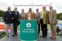 Connections of Jamil receive their trophy from sponsors after winning The Become a Wiltshire Freemason EBF Novice Stakes    during Afternoon Racing at Salisbury Racecourse on 4th October 2017