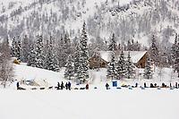 Bjornar Andersens sled dog team @ Finger Lake Chkpt 2006 Iditarod Finger Lake Alaska Winter