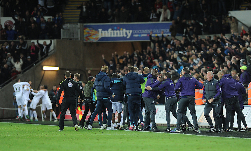 Swansea City manager Bob Bradley and his  backroom staff celebrate Fernando Llorente late winner <br /> <br /> Photographer Ashley Crowden/CameraSport<br /> <br /> The Premier League - Swansea City v Crystal Palace - Saturday 26th November 2016 - Liberty Stadium - Swansea <br /> <br /> World Copyright &copy; 2016 CameraSport. All rights reserved. 43 Linden Ave. Countesthorpe. Leicester. England. LE8 5PG - Tel: +44 (0) 116 277 4147 - admin@camerasport.com - www.camerasport.com
