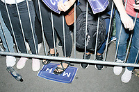 """A MATH sign lays on the ground after entrepreneur and Democratic presidential candidate Andrew Yang spoke at a campaign rally in Cambridge Common near Harvard Square in Cambridge, Massachusetts, on Mon., September 16, 2019. Yang's unlikely presidential bid is centered on his idea for a """"Freedom dividend,"""" which would give USD$1000 per month to every adult in the United States. After appearing in three Democratic party debates, Yang has risen in polls from longshot candidate to within the top 10. The slogan MATH is now said to mean """"Make America Think Harder"""" and the candidate frequently sites statistics and mathematics in his speeches."""