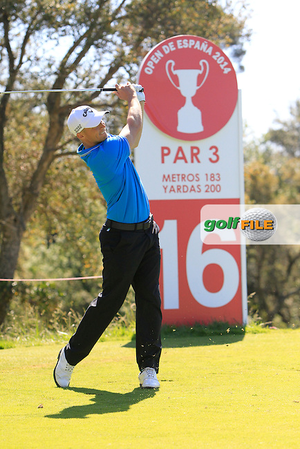 Alex Noren (SWE) on the 16th tee during Thursday's Round 1 of The Open De Espana at The PGA Catalunya Resort. 15th May 2014.<br /> Picture:  Thos Caffrey / www.golffile.ie
