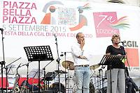 Roma, 5 Settembre 2015<br /> Piazza Farnese<br /> Festa della CGIL Roma e Lazio Piazza Bella Piazza<br /> Susanna Camusso e Claudio Di Berardino