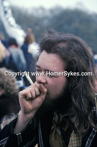 Legalise Pot campaign Hyde Park London 1979 smoking a joint
