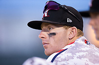 Max Dutto (6) of the Kannapolis Intimidators watches the action from the dugout during game two of a double-header against the Hickory Crawdads at Kannapolis Intimidators Stadium on May 19, 2017 in Kannapolis, North Carolina.  The Intimidators defeated the Crawdads 9-1.  (Brian Westerholt/Four Seam Images)
