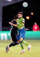 10th July 2020, Orlando, Florida, USA;  Seattle Sounders midfielder Cristian Roldan (7) heads the ball During the MLS Is Back Tournament between the Seattle Sounders v San Jose Earthquakes on July 10, 2020 at the ESPN Wide World of Sports, Lake Buena Vista FL.