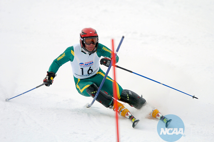 11 MAR 2005: Greg Hardy of the University of Vermont during the slalom event of the 2005 NCAA Men and Women's Skiing Championships held at Stowe Mountain Resort in Stowe, VT. Hardy placed third in the event.  ©Brett Wilhelm/NCAA Photos
