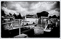 """Henley on Thames,  GREAT BRITAIN,  2007, Henley launch's  Left """"MAJESTIC"""" and """"MAGICIAN"""", in the mooring area,  """"Film Noir Style Photography"""", © Peter SPURRIER,"""