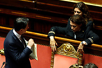 Two assistants move Premier Giuseppe Conte's chair <br /> Rome September 10th 2019. Senate. Discussion and Trust vote at the new Government. <br /> Foto  Samantha Zucchi Insidefoto