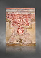 Minoan fresco panel from the 'Lily Frescoes' from the 'Villa of the Lilies' Amnisos, 1600-1500 BC. Heraklion Archaeological Museum.  Grey Background. <br /> <br /> Ths freco depicts white lilies against a red background and red lilies against w white backgoround with long stems in front of a fence. The wall art uses fresco and 'in cavo' technique. Neopalatial Period.