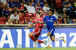 Bayern Munich Midfielder James Rodríguez (L) trips up with Chelsea Midfielder Willian da Silva (R) during the International Champions Cup match between Chelsea FC and FC Bayern Munich at National Stadium on July 25, 2017 in Singapore. Photo by Marcio Rodrigo Machado / Power Sport Images