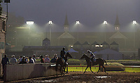 Scenes from morning workouts at Churchill Downs in Louisville, Kentucky on May 1, 2012.