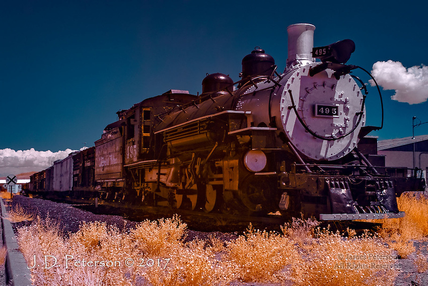 Old 495, Antonito, Colorado (Infrared) ©2017 James D Peterson.  The Cumbres and Toltec Scenic Railroad is a narrow gauge line that was originally part of the Rio Grande Railroad.  It has been preserved and maintained as a living history museum by the states of Colorado and New Mexico and a private foundation.