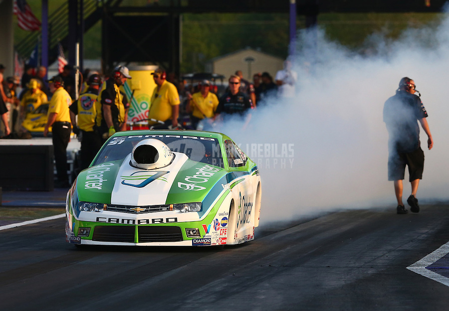 Apr 25, 2014; Baytown, TX, USA; NHRA pro stock driver Dave Connolly during qualifying for the Spring Nationals at Royal Purple Raceway. Mandatory Credit: Mark J. Rebilas-