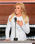 Professional Golfer Natalie Gulbis makes remarks at the 2016 Republican National Convention held at the Quicken Loans Arena in Cleveland, Ohio on Tuesday, July 19, 2016.<br /> Credit: Ron Sachs / CNP<br /> (RESTRICTION: NO New York or New Jersey Newspapers or newspapers within a 75 mile radius of New York City)