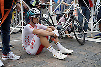 former World Champion Michal Kwiatkowski (POL/Etixx-Quickstep) contemplating over the race straight after the finish (next to his #1 bike)<br /> <br /> Elite Men Road Race<br /> UCI Road World Championships Richmond 2015 / USA