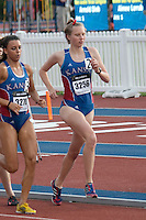 University of Kansas redshirt freshman Courtney Coppinger (St. Teresa's Academy) runs the steeplechase at the 2015 Kansas Relays.