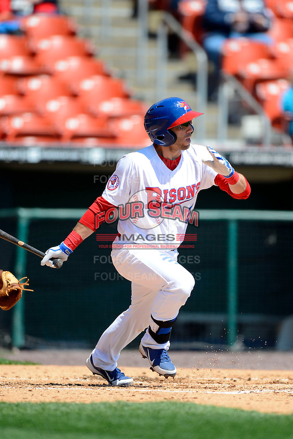 Buffalo Bisons second baseman Jim Negrych #5 during the first game of a doubleheader against the Pawtucket Red Sox on April 25, 2013 at Coca-Cola Field in Buffalo, New York.  Pawtucket defeated Buffalo 8-3.  (Mike Janes/Four Seam Images)