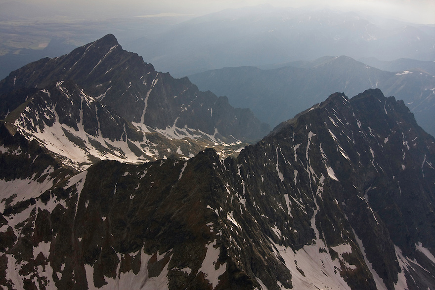 Aerial view of the northern slope of Mount Krivàn (2495m als), national symbol of Slovakia, and Mount Hruba Kopà (2238m asl). High Tatras, Slovakia. June 2009. Mission: Ticha