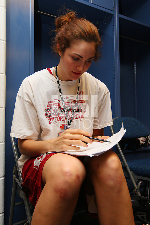 7 April 2008: Stanford Cardinal Morgan Clyburn during Stanford's press conference for the 2008 NCAA Division I Women's Basketball Final Four championship game at the St. Pete Times Forum Arena in Tampa Bay, FL.