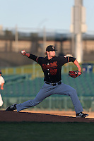 Ben Lively #25 of the Bakersfield Blaze pitches against the Lancaster JetHawks at The Hanger on May 13, 2014 in Lancaster California. Lancaster defeated Bakersfield, 1-0. (Larry Goren/Four Seam Images)