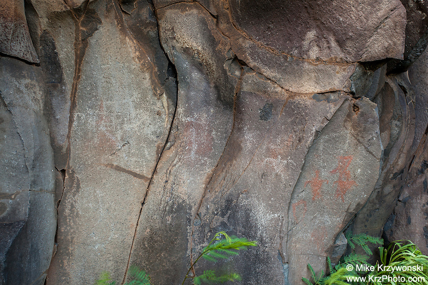 Hawaiian petroglyphs & pictographs near Nu'u Bay, Kaupo, Maui