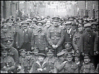 BNPS.co.uk (01202 558833)Pic: SheilaBrady/BNPS<br /> <br /> Chapel Street's surviving heroes celebrate in 1919.<br /> <br /> 'The Bravest Little Street in England'.<br /> <br /> The remarkable story of a humble street which was described by the king as 'the bravest in England' is told in a new book.<br /> <br /> The inhabitants of Chapel Street in Altrincham, Greater Manchester, displayed an unrivalled devotion of duty when Lord Horatio Kitchener made the rallying call for men to enlist in the First World War.<br /> <br /> From the tight-knit community of just 60 houses, a staggering 161 men volunteered - 81 of them on the first day.<br /> <br /> Tragically, however, 29 men from the street were killed in action, more than from any other street in England.
