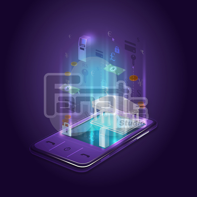 Illustrative image of mobile phone representing mobile banking