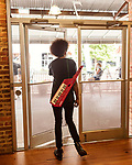 May 18, 2018. Durham, North Carolina.<br /> <br /> An attendee leaves the Modular Marketplace for all things Moog-related that was held at Bay 7 of the American Tobacco Campus. <br /> <br /> Moogfest 2018 showcases 4 days of music, art and technology spread out amongst venues in and around downtown Durham.